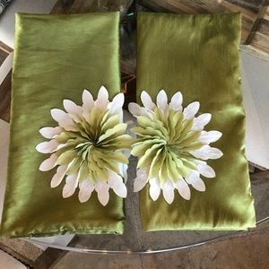 Vintage set of pillow covers, silk and flowers
